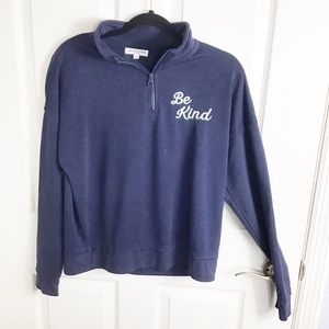 Grayson Threads Blue Be Kind 1/4 Zip Pullover NWOT